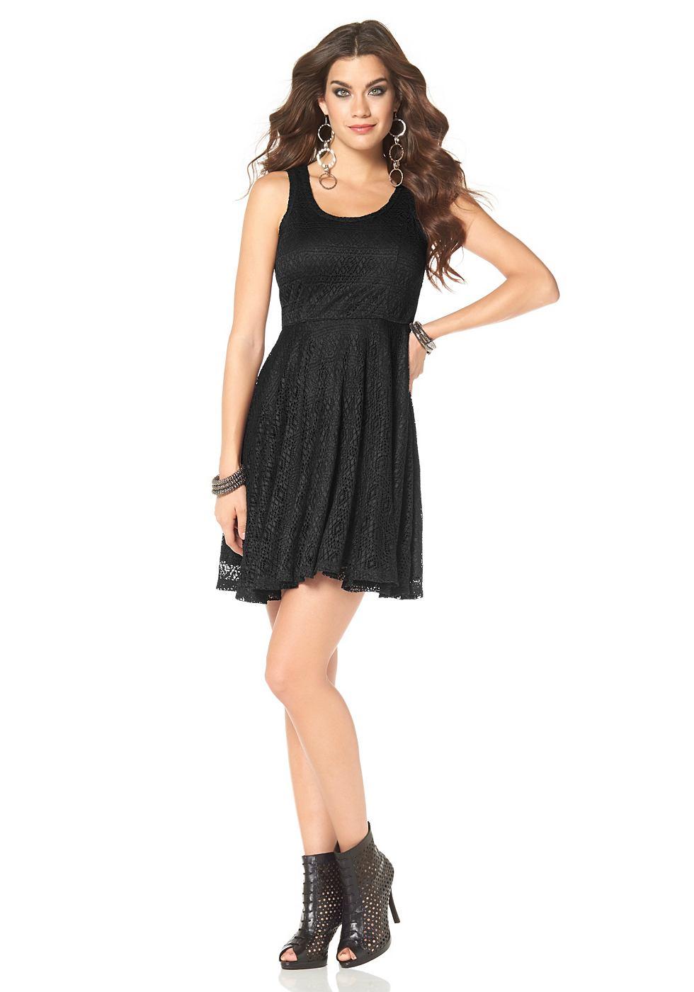 Laura Scott kanten jurk met ritssluiting achter zwart