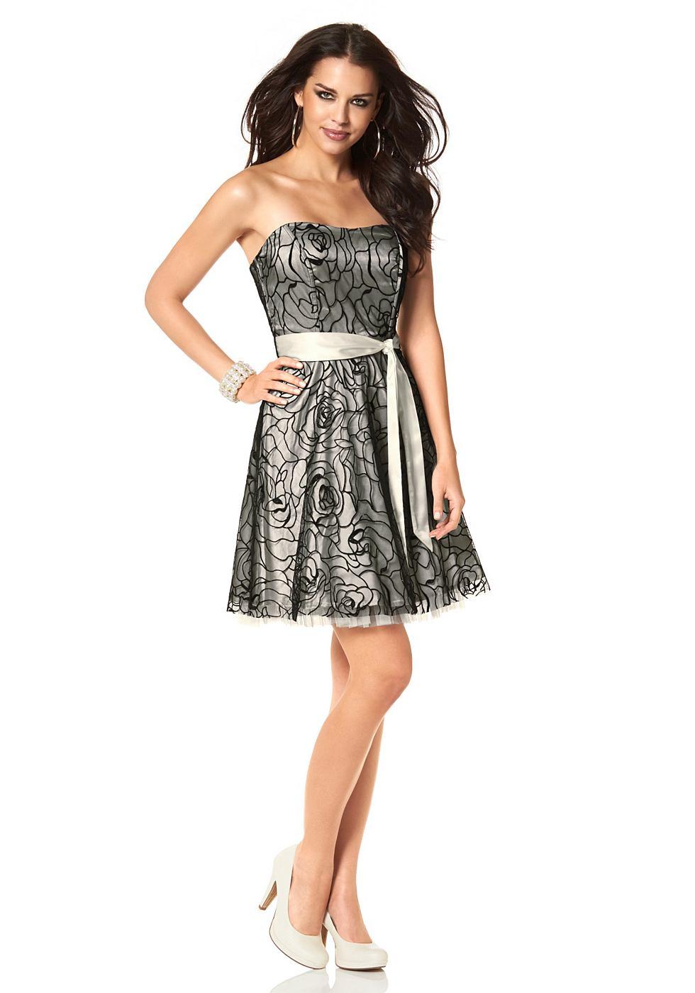 Laura Scott Babydoll-jurk in dubbellaags model grijs