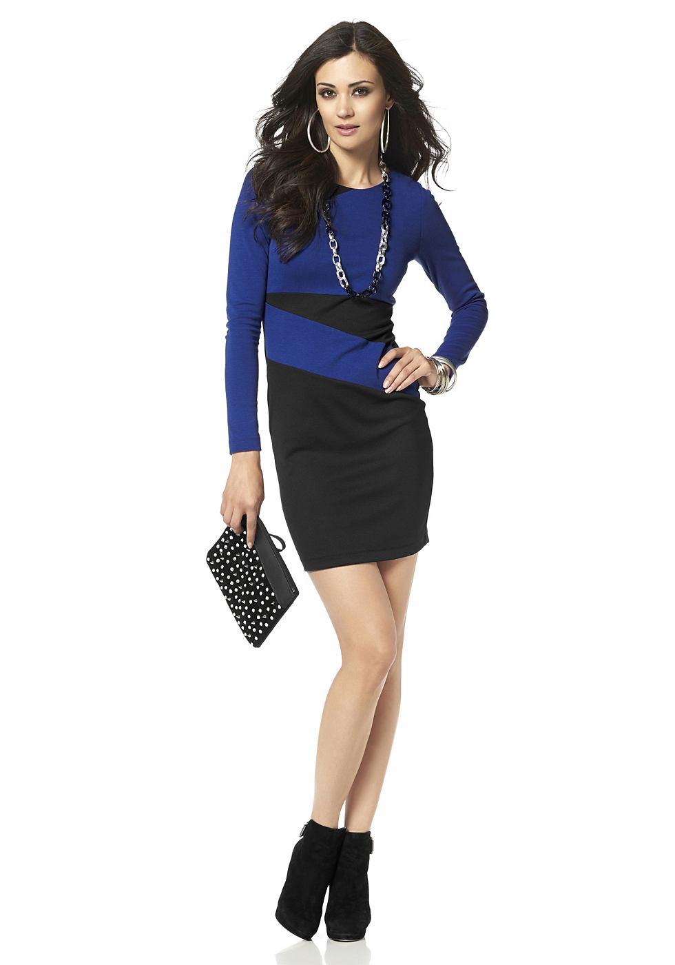 Laura Scott jurk met contrastinzetten blauw