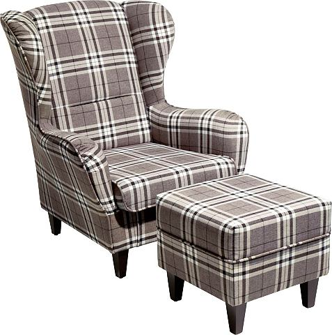 HOME AFFAIRE Oorfauteuil met hocker serie Nicola