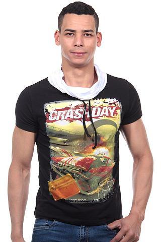 R-NEAL Slim fit T-shirt met sjaalkraag