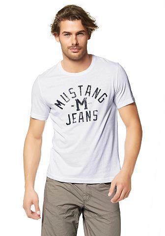 MUSTANG T-shirt met print in used-look voor