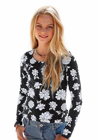ARIZONA Shirt met lange mouwen en print allover