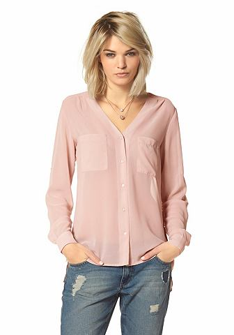 LAURA SCOTT Chiffon-blouse met doorknoopsluiting