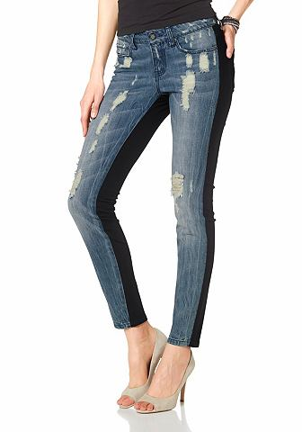 LAURA SCOTT Skinny-jeans met destroyed-effecten