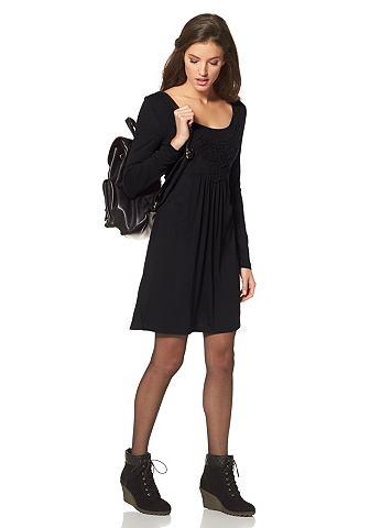 ANISTON Jersey-jurk met borduursel bij de hals