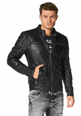 BRUNO BANANI Leren jack in biker-stijl