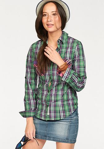 KANGAROOS Geruite blouse met contrastdetails