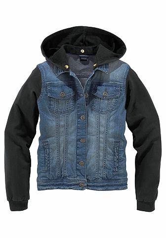 ARIZONA jeansjack met mouwen en capuchon van sweatmateriaal, voor meisjes
