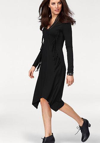 ANISTON Jersey-jurk met franje en kant