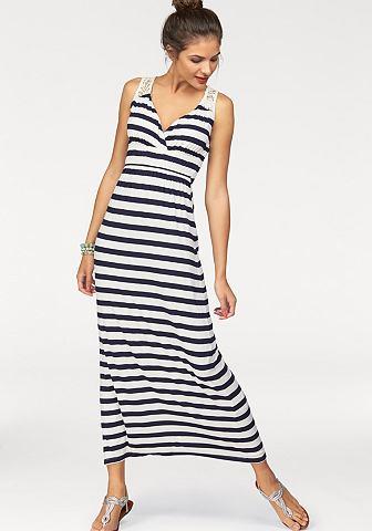 NU 20% KORTING: AJC Maxi-jurk gestreept met ingezette kant