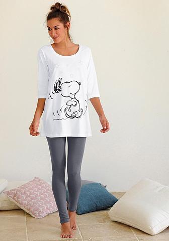 NU 15% KORTING: PEANUTS pyjama met legging en casual shirt met Snoopyprint