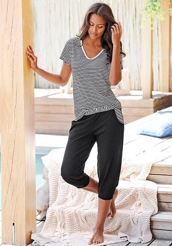 NU 15% KORTING: H.I.S capripyjama met gestreept T-shirt en casual broek