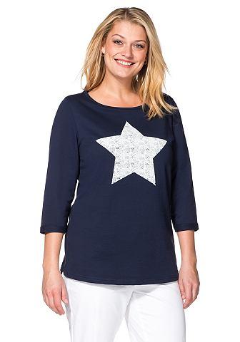 SHEEGO CASUAL sweatshirt met frontprint in kant-look