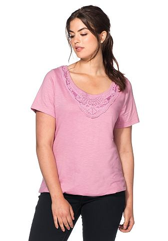 sheego Casual T-shirt met fijne kant