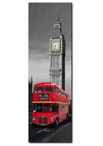 Artprint, Premium Picture, 'London Red Bus', afm. 30x90 cm