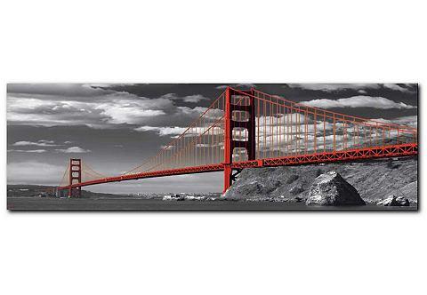 Artprint, Premium Picture, 'Golden Gate Bridge', afm. 90x30 cm