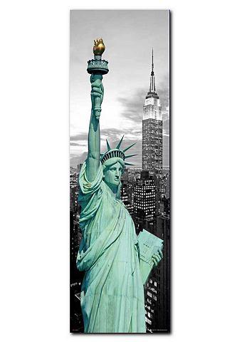Artprint, Premium Picture, 'New York Vrijheidsbeeld', afm. 30x90 cm