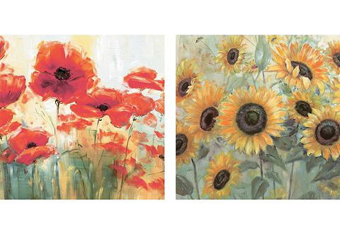 2-delige artprintset Papavers en Zonnebloemen