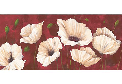 Artprint op linnen 'White Poppies on Red', afm. 110x50 cm