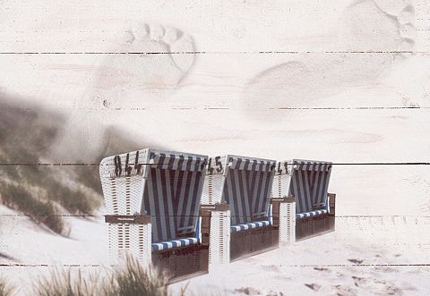 Artprint op hout 'Strandstoelen', afm. 80x60 cm