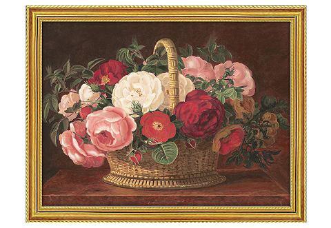 Artprint met lijst 'Mand met rozen', afm. 79,6x59,6 cm