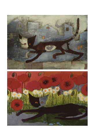 Artprint 'poezen', 2 delige set van rosina wachtmeister. artprints met de populaire poezenmotieven van de ...