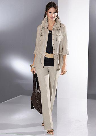Blousejasje & pantalon, 2-delige set steengrijs melee