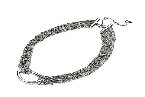 Van alba moda. ketting, meerrijig, van metalen kogelkettinkjes met ovale metalen ring. ketting met ...